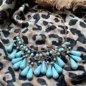 Jewelry - Turquoise blue - Beadwork pendant necklace